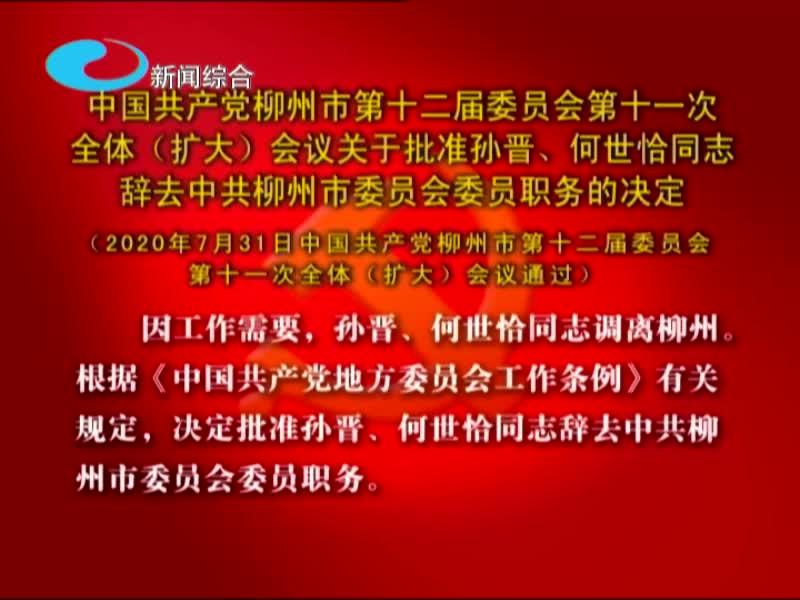中国共产党柳州市第十二届委员会第十一次  全体(扩大)会议关于批准孙晋、何世恰同志  辞去中共柳州市