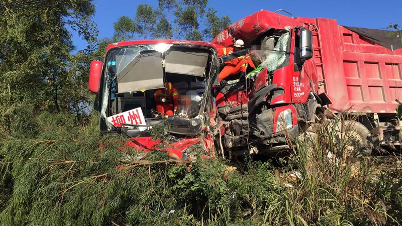 最新情况|国道209大货车与大客车相撞交通事故 货车司机当场死亡