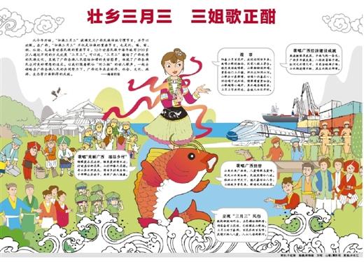 桂林山水甲天下,德天瀑布令人夸;   三姐故乡景色美,歌海处处起