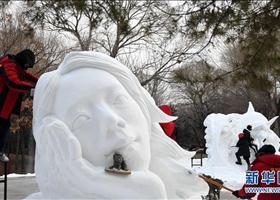 """大学生雪雕赛尽展""""冬之韵"""""""